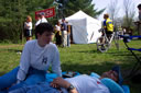Kris Davenport watches over Michael after his 8th Ice Age Trail 50 Mile run