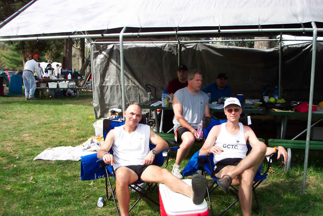 Larry Hall and Michael Davenport in front of the scorer's tent