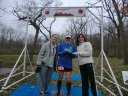 Shelley Cook (center) of Waukegan earns first place fmale overall in the Paleo-Carb 50-Km!