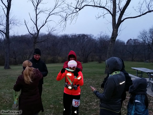 50-Km Runners, Olivia Rodriguez and Michael Johnson in Devonian Dusk : Saturday November 15, 2014