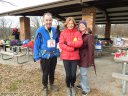 50-Km Masters Top Female, Jennifer Leslie Surrounded by Mike & Jeni : Saturday November 15, 2014