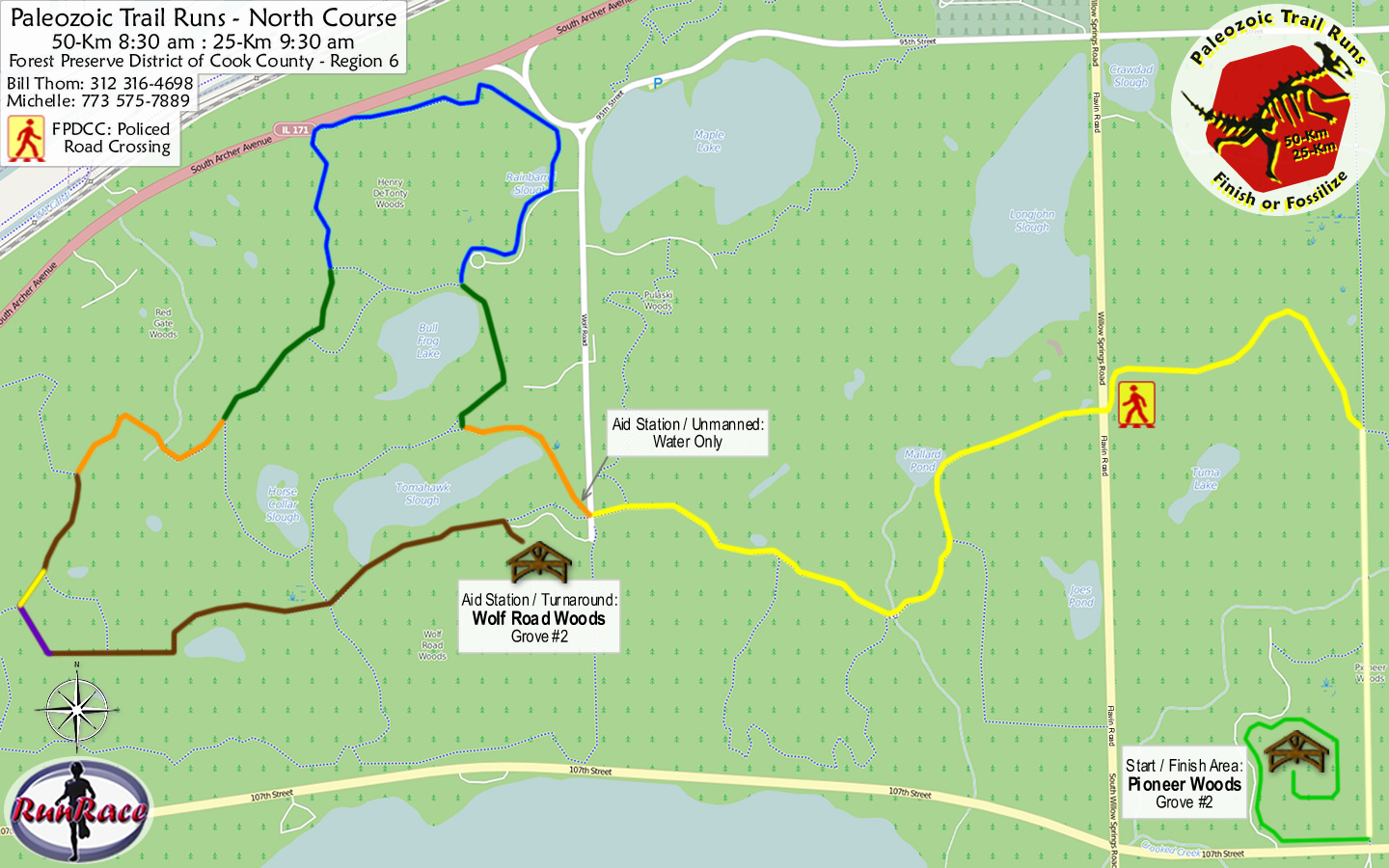 [racecourse map: Paleozoic Trail Runs - Silurian Spring]