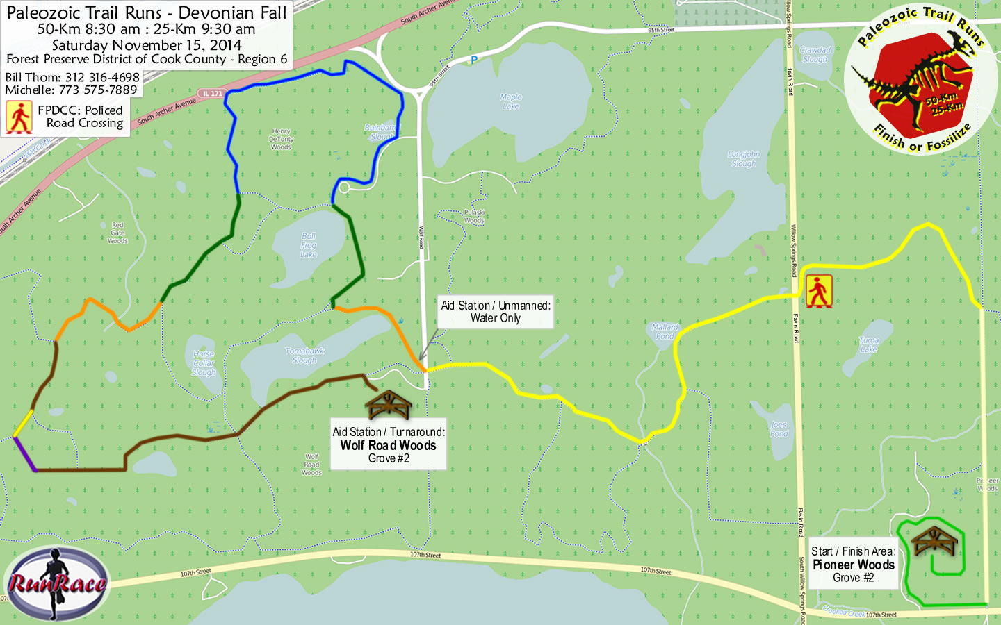 [racecourse map: Paleozoic Trail Runs - Devonian Fall]