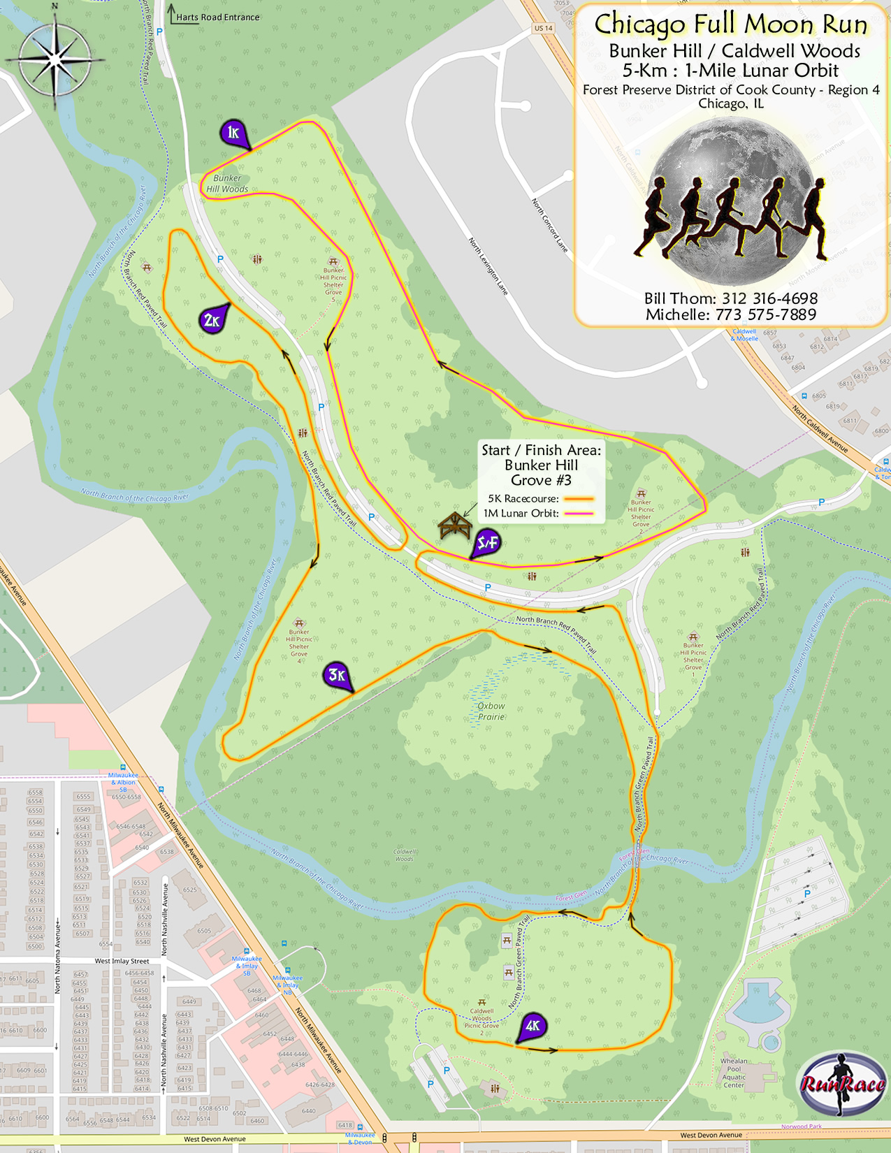[racecourse map: 2020 Chicago Full Moon Run]