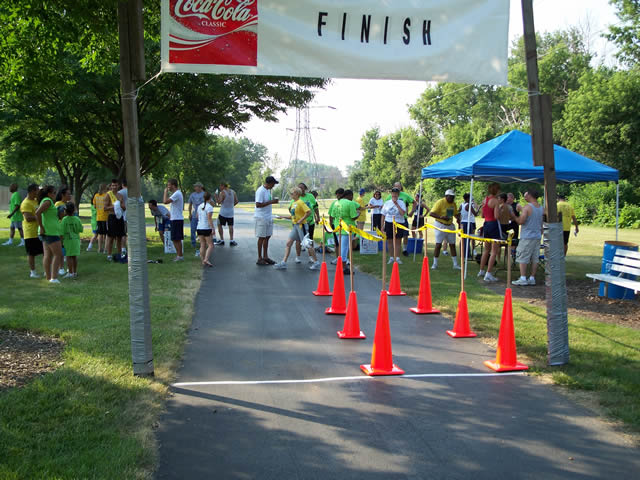 Finish line of the Alsip Park 5K Run / 3K Walk