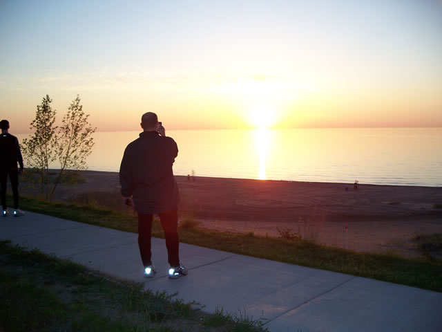 Bob captures the sunrise over Lake Michigan
