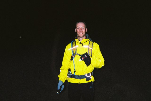 Matt Nyquist of Michigan helps pace Bill through a 3.5 mile section of night running