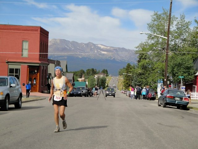 Beth Simpson-Hall approaches the finish line