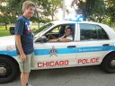John Garrido of the Chicago Police helps with traffic control