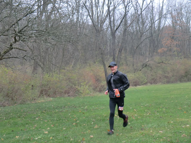 Piotr Janczyk sets off on his second lap of Carboniferous Fall 50-Km