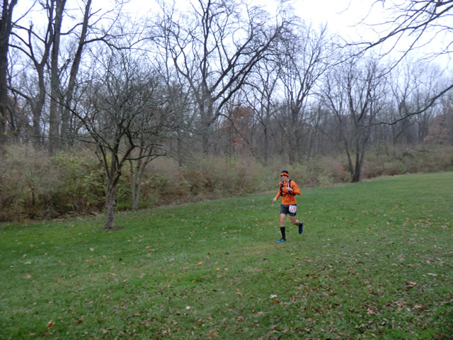 Ron Baker completes lap one then quickly sets out for lap two of Carboniferous Fall 50-Km
