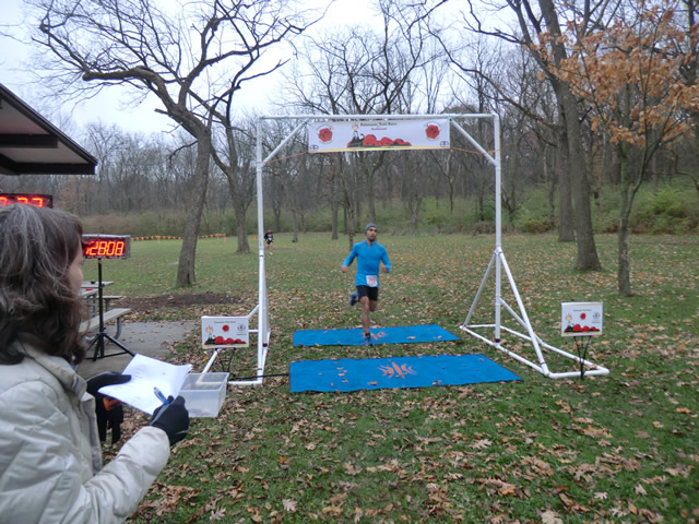 Displaying perfect running form Renato Gonzalez finishes 3rd place in his age group!