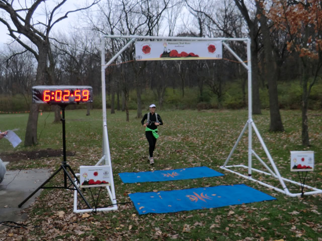 Leslie Jacobi finishes her adventure of the Carboniferous Fall 50-Km!