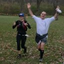 Erin Bockelman and Gregory Butler in tandem, make the finish of Carboniferous Fall 50-Km!
