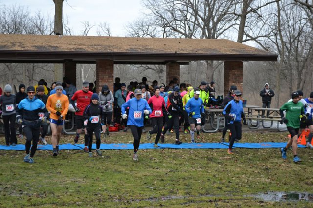 And They're Off... 25-Km Runners Depart Palos Park Woods-North : Laurel Childress