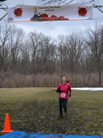 Lindsey Wagner at the 25-Km Finish Line as First Place Female : Laurel Childress