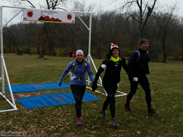 Kim Chaput, Melanie Neumann, and David Acheson Celebrate their 50-Km : Saturday November 15, 2014