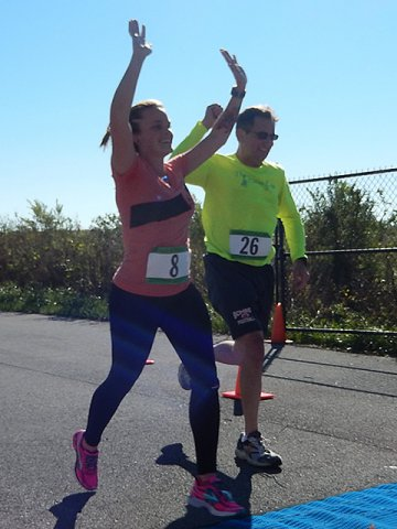 Action from the Finish Line of Hoosier Burn Camp 5K Run : Saturday October 4, 2014