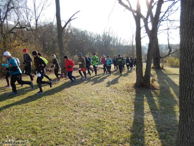 Starting the Parade Loop of Devonian Fall 50-Km : Saturday November 15, 2014