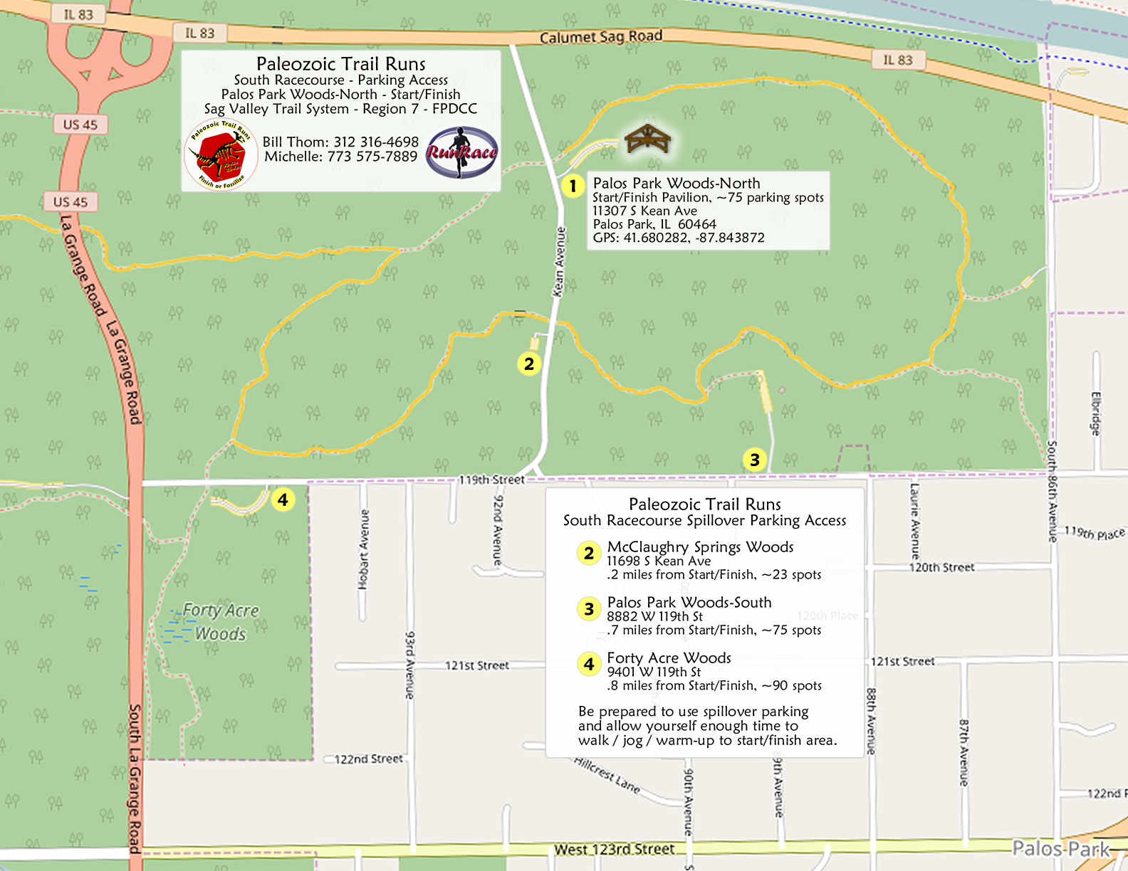 [parking map: Paleozoic Trail Runs - South Racecourse Parking Map]