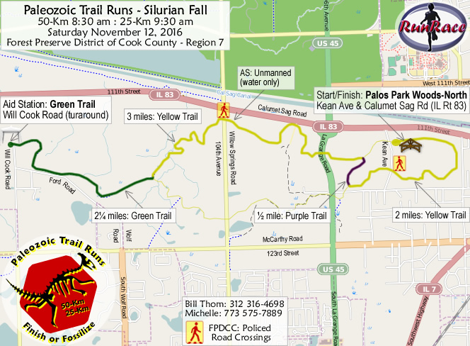 [racecourse map: Paleozoic Trail Runs - Silurian Fall]